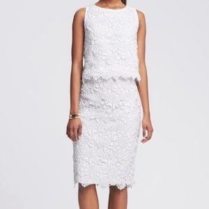 Banana Republic Scalloped White Lace Skirt & Shirt